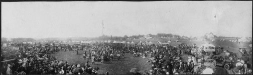 Ojibwe, visiting Dakota, and non-Native people watch an American Indian dance performance at White Earth in 1910 during the annual June 14th celebration of the reservation's creation under the treaty of 1867.   Courtesy of the Minnesota Historical Society
