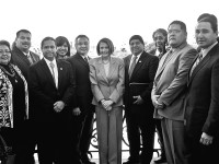 Throughout history, Native delegates have traveled to Washington, D.C., to meet with American leaders. In 2009, Red Lake and other tribal leaders came to meet with government representatives, including Speaker of the House of Representatives Nancy Pelosi (center). | Courtesy of the Red Lake Nation