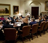 President Barack Obama meets with tribal leaders, including Fond du Lac tribal Chairwoman Karen Diver (seated to his left), in the Roosevelt Room of the White House, December 15, 2010. | Photo by Pete Souza, courtesy of the White House