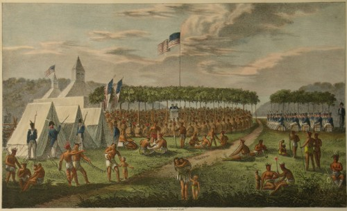James Otto Lewis, View of the Great Treaty Held at Prairie du Chien, 1825. | Courtesy Joseph F. Cullman 3rd Library of Natural History, Smithsonian Institution Libraries